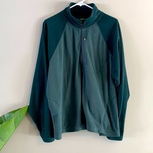 Two Tone Colorblock Green Zip Up Fleece Jacket L